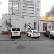 Жінка уже вишиває на стіні по Ремісничій у Чернігові - мурал