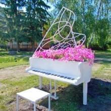 Рояль з квітами поставили на газоні біля музичної школи №1 у Чернігові