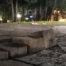 Розлізлася бруківка у сквері Хмельницького